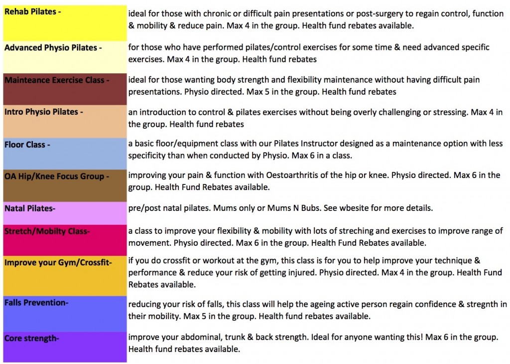 pilates & core control gold coast timetable