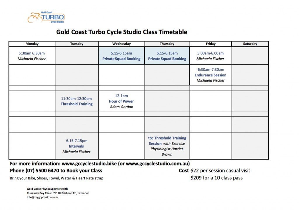 Timetable Gold Coast Cycle Training   Sports Physio Gold