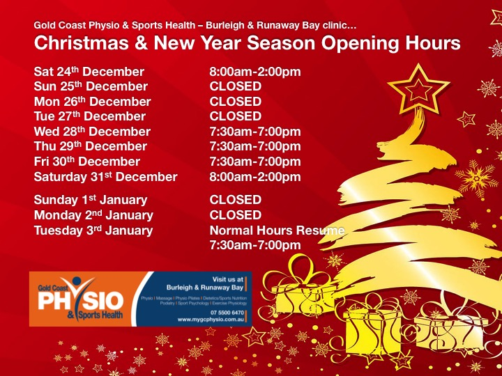 Gold Coast Physio Christmas online booking appointments